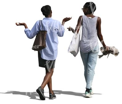 Two black women walking and talking.