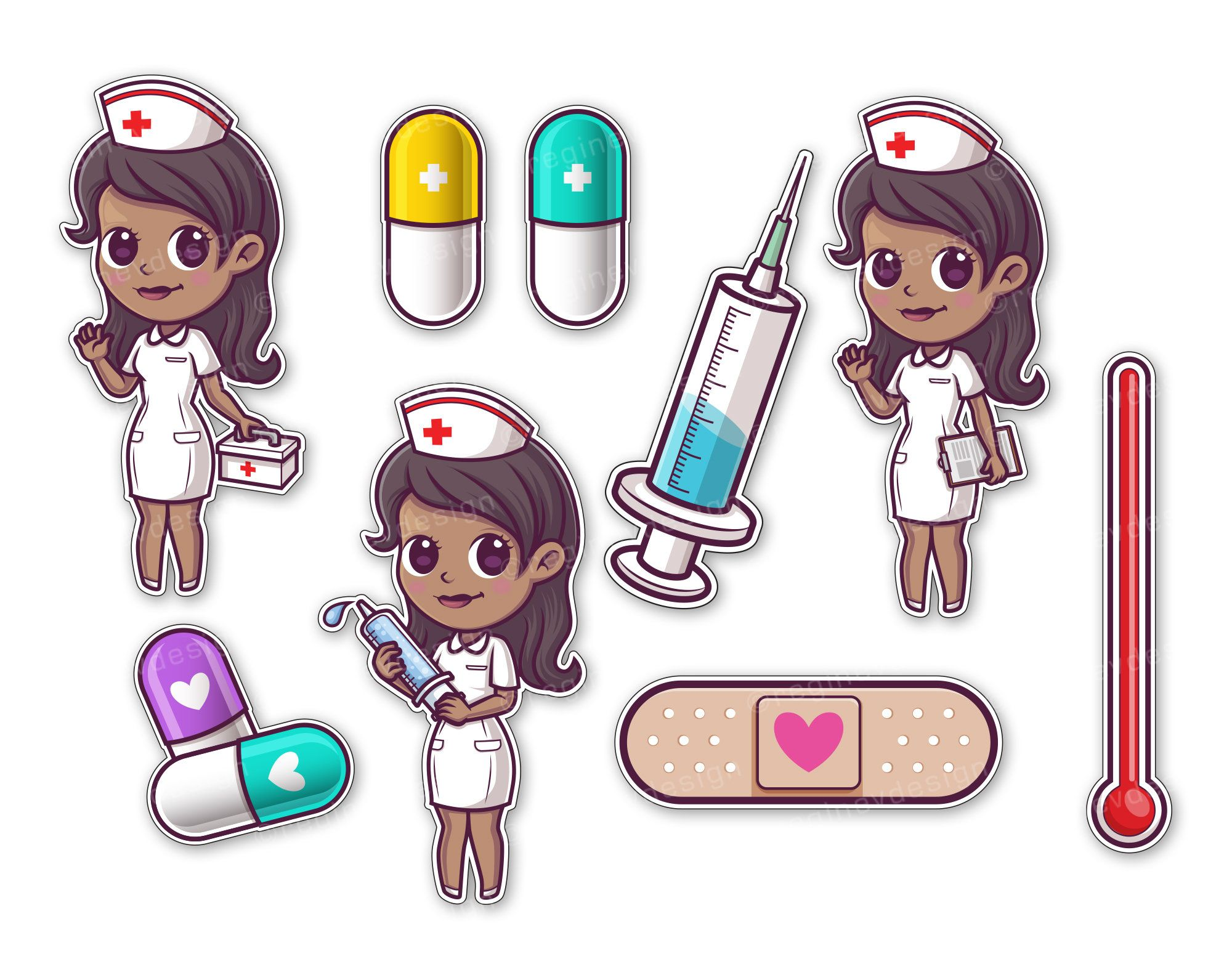 Cute Nurse and Hospital Clipart, Hospital, African American.