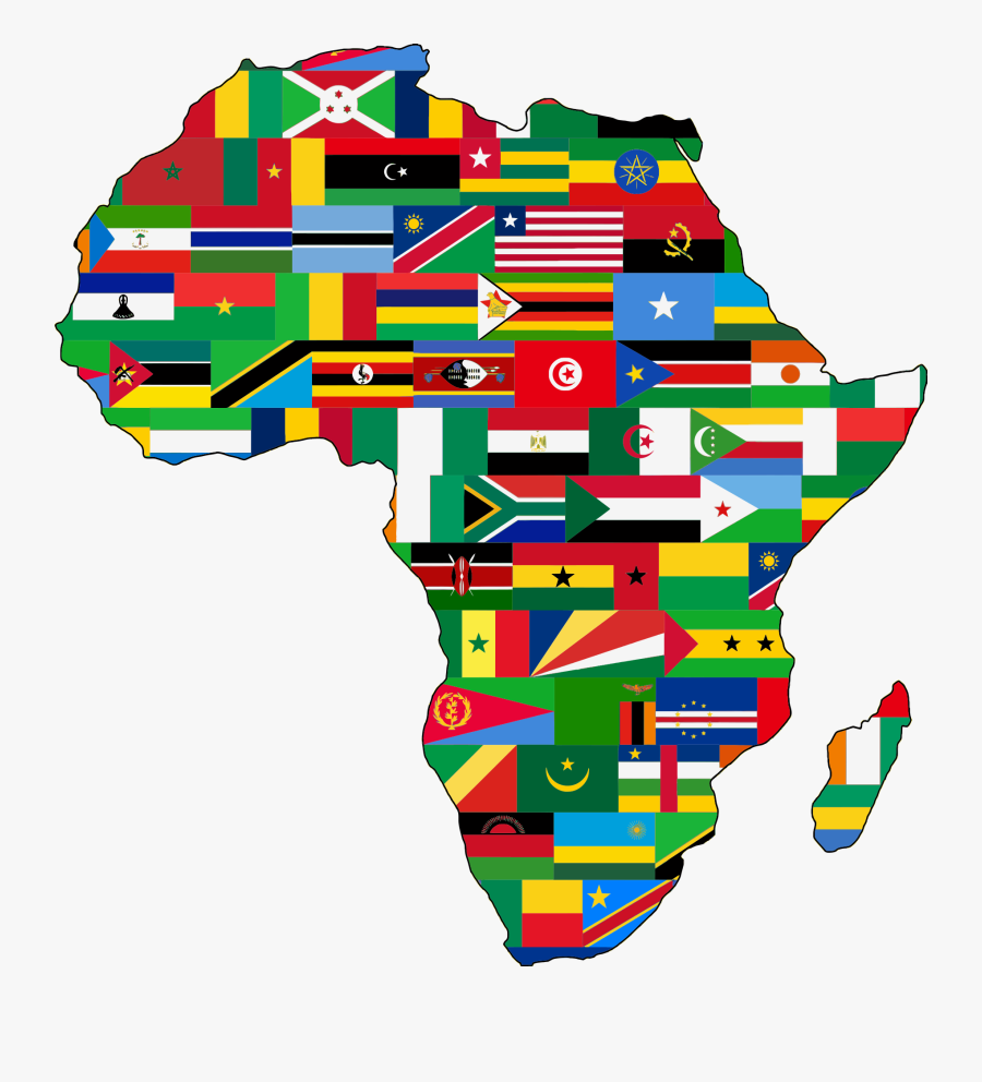 African Map With Flags , Free Transparent Clipart.