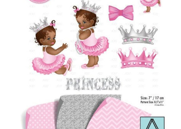 African American Girl Pink Gray Clipart.