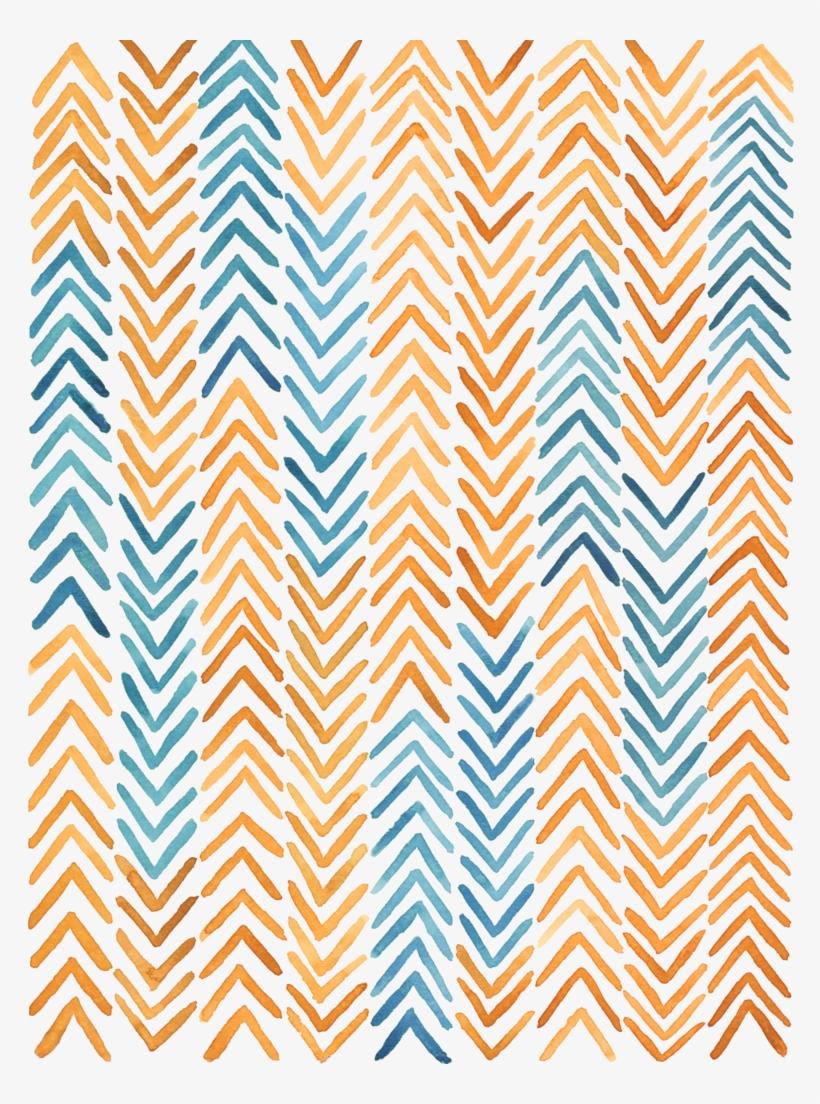 African Textile Arrow Watercolor Print.