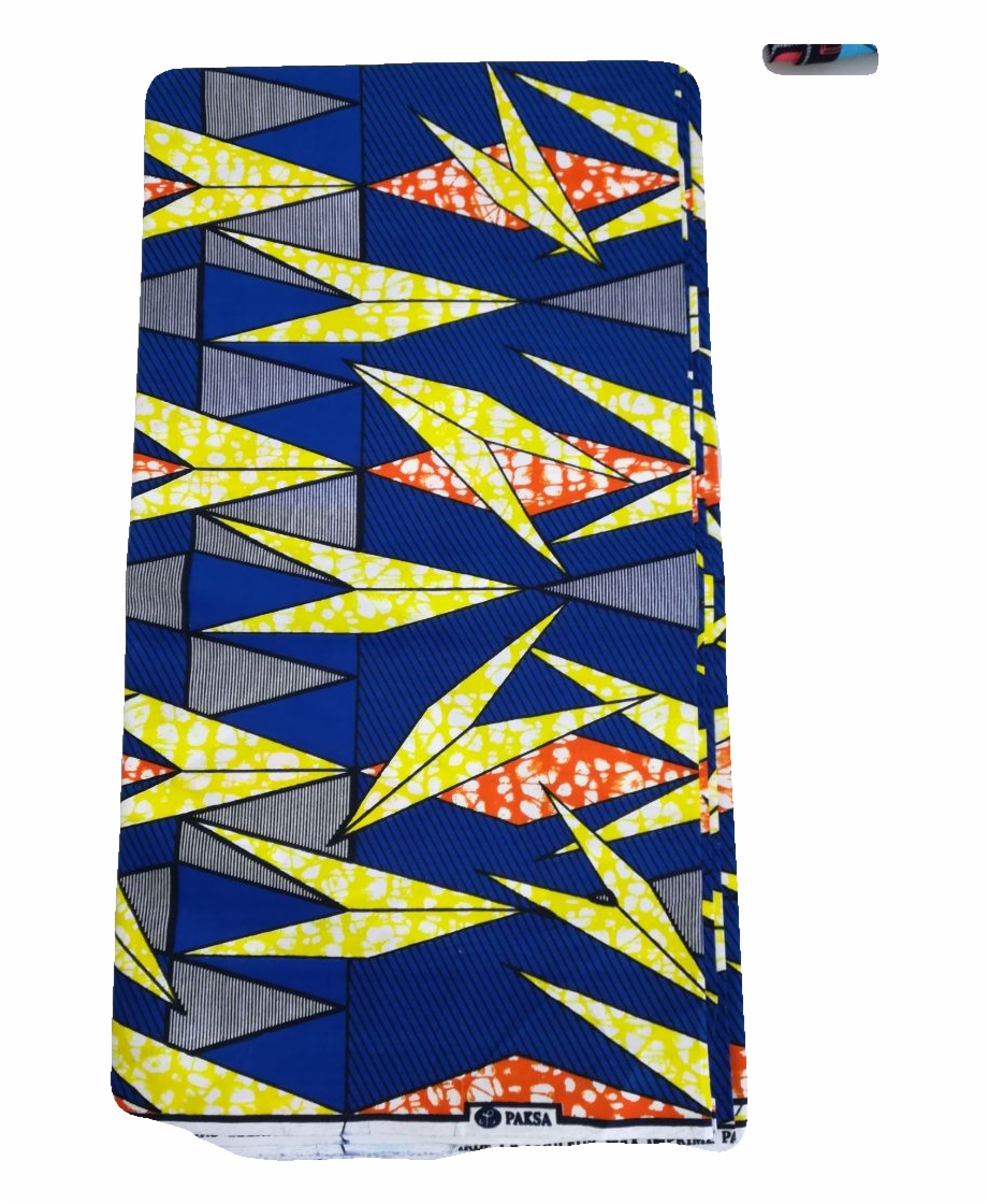 African Print Fabric, Blue And Yellow.