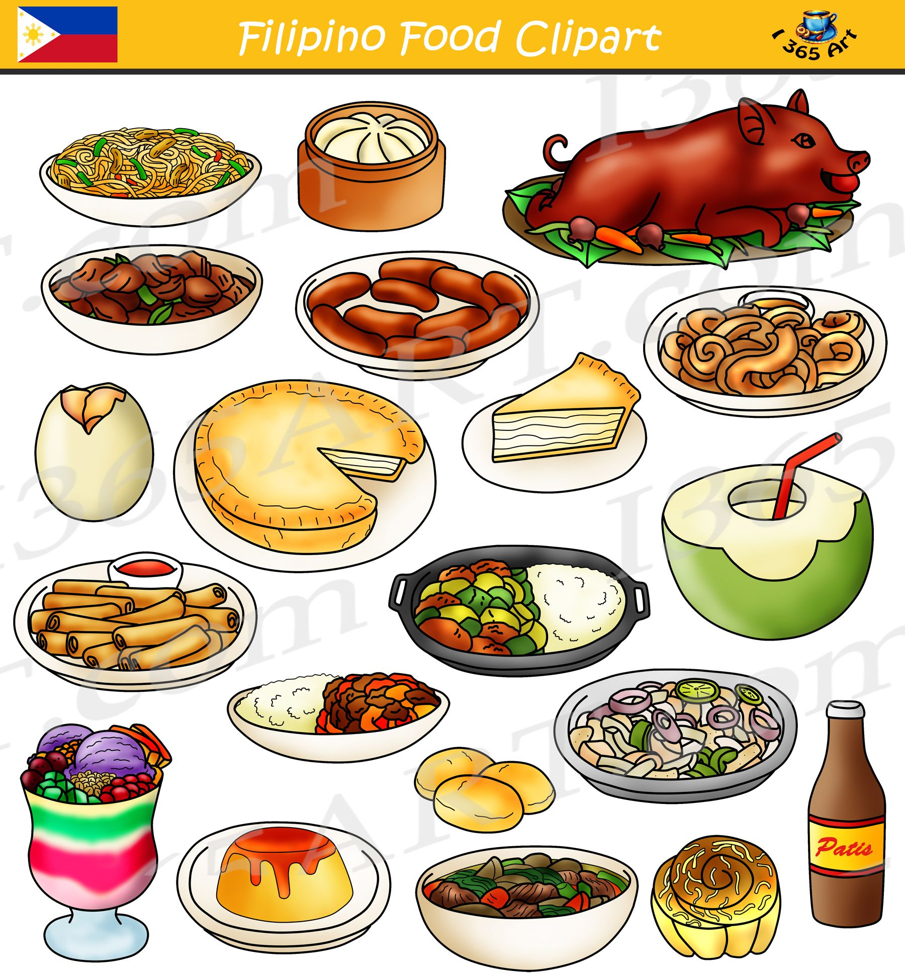 Filipino Food Clipart Bundle.