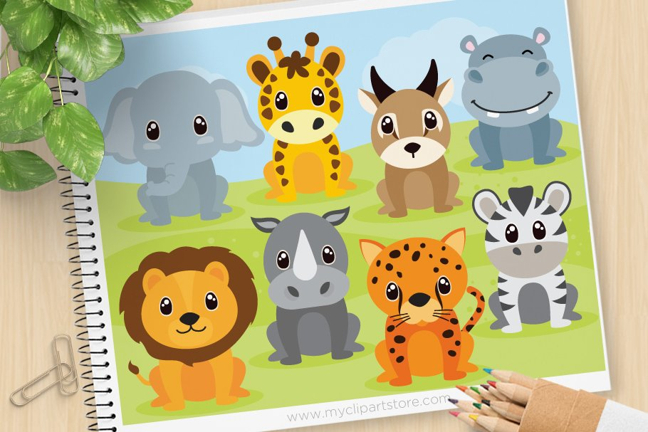 African Safari Animals Clipart, SVG.