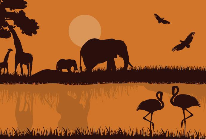 African Safari Silhouette Free Vector.