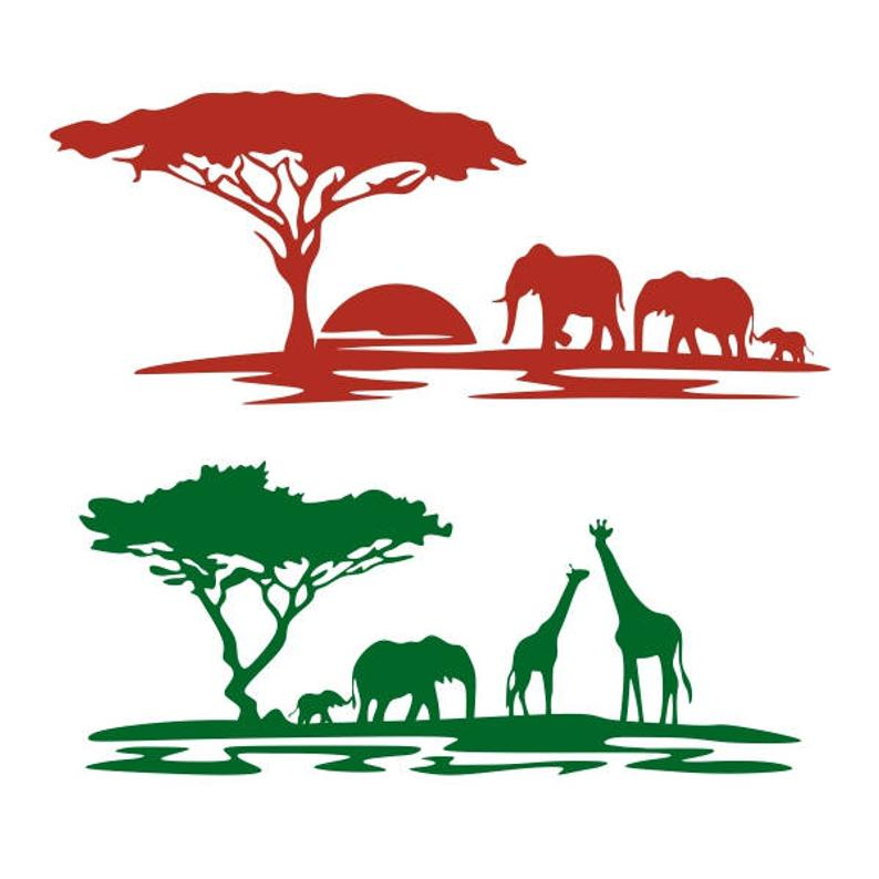 Africa Safari Animals Cuttable Design PNG DXF SVG & eps File Silhouette  Designs Cameo.