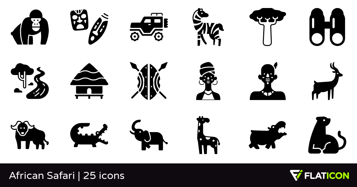 African Safari 25 premium icons (SVG, EPS, PSD, PNG files).