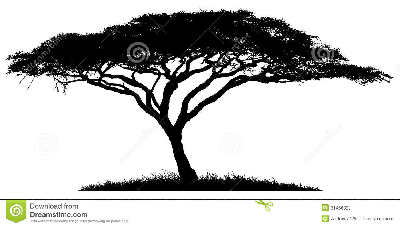 African Savanna Tree Silhouette.