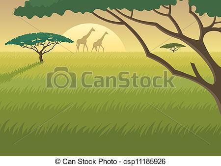 Vector Illustration of Africa Landscape.