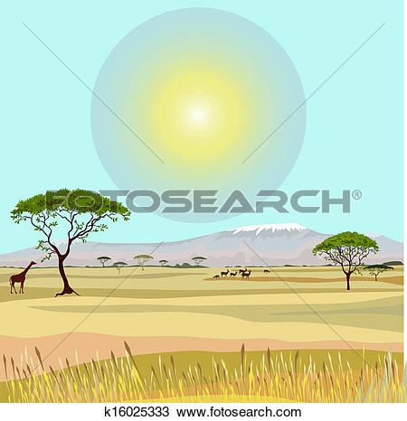 Clipart of African Mountain idealistic landscape k16025333.