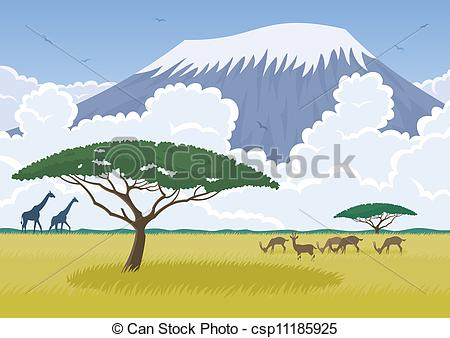 Vector Illustration of African landscape with the Savannah and Mt.