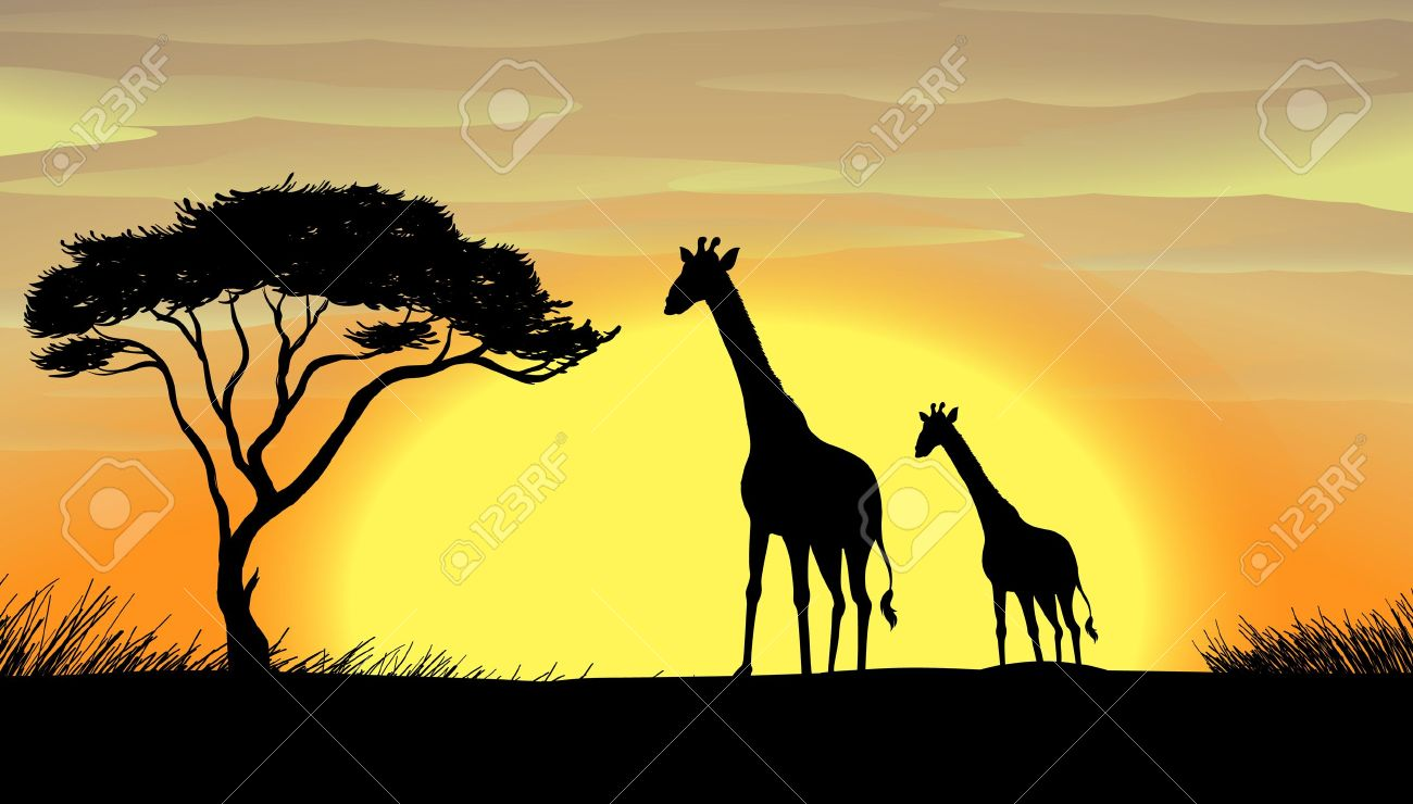 Illustration Of Giraffe In A Beautiful Nature Royalty Free.