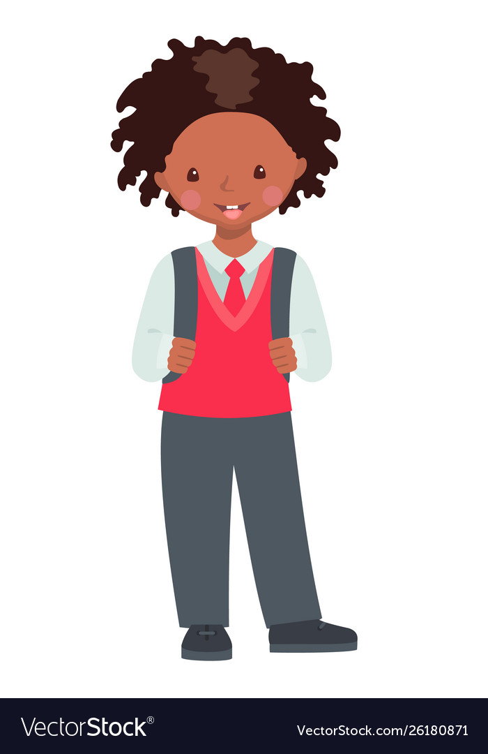 Cute african american school boy character.
