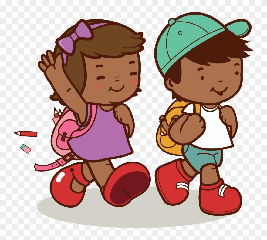 African American Kids Walk To School.