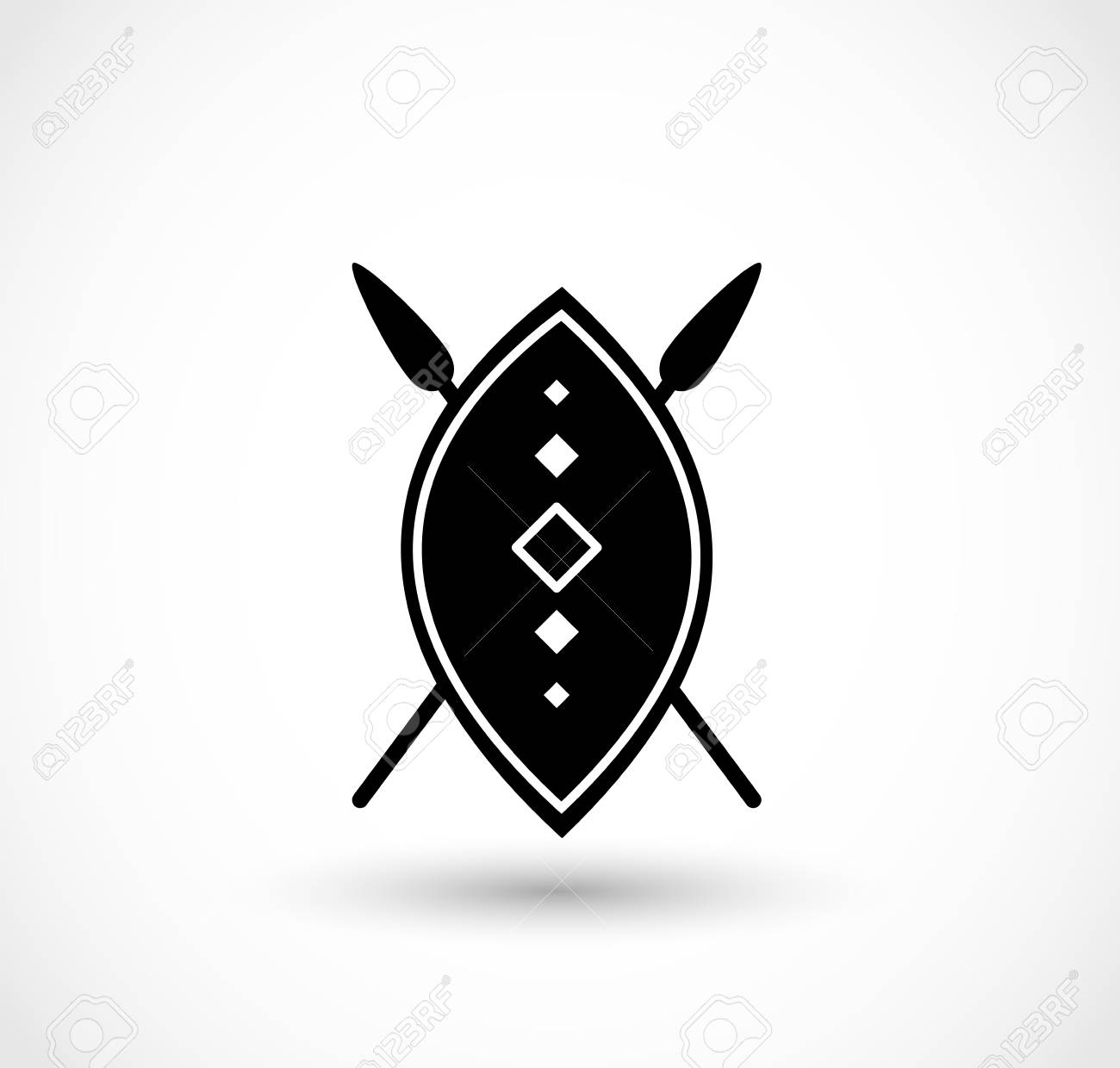 African shield with spears vector.