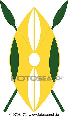 African shield and spears Clipart.
