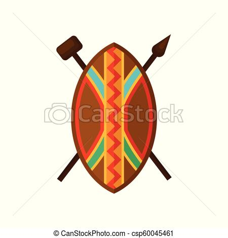 African shield, spear and hammer, authentic symbols of Africa with ethnic  ornament vector Illustration on a white background.