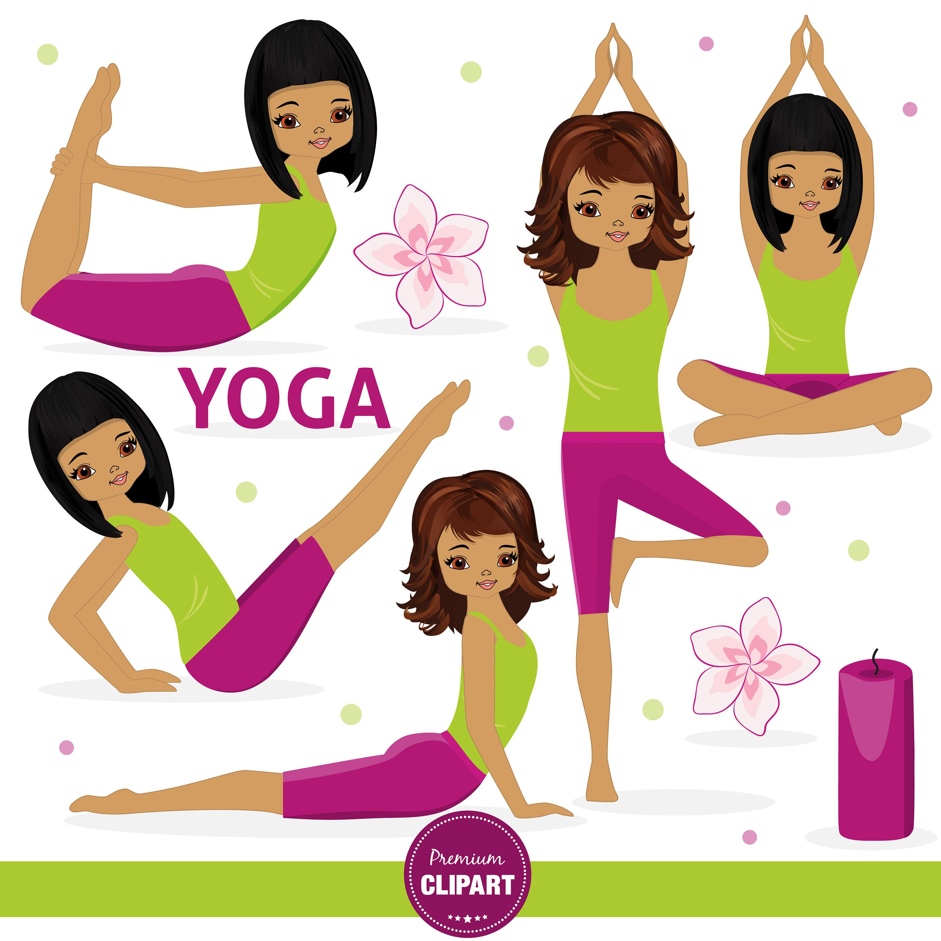 African American Yoga clipart, Yoga images, Girl clipart.