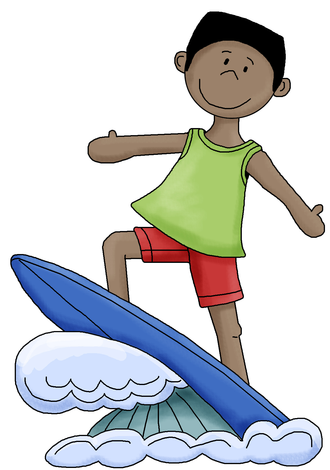African Girl Surfer Clipart.