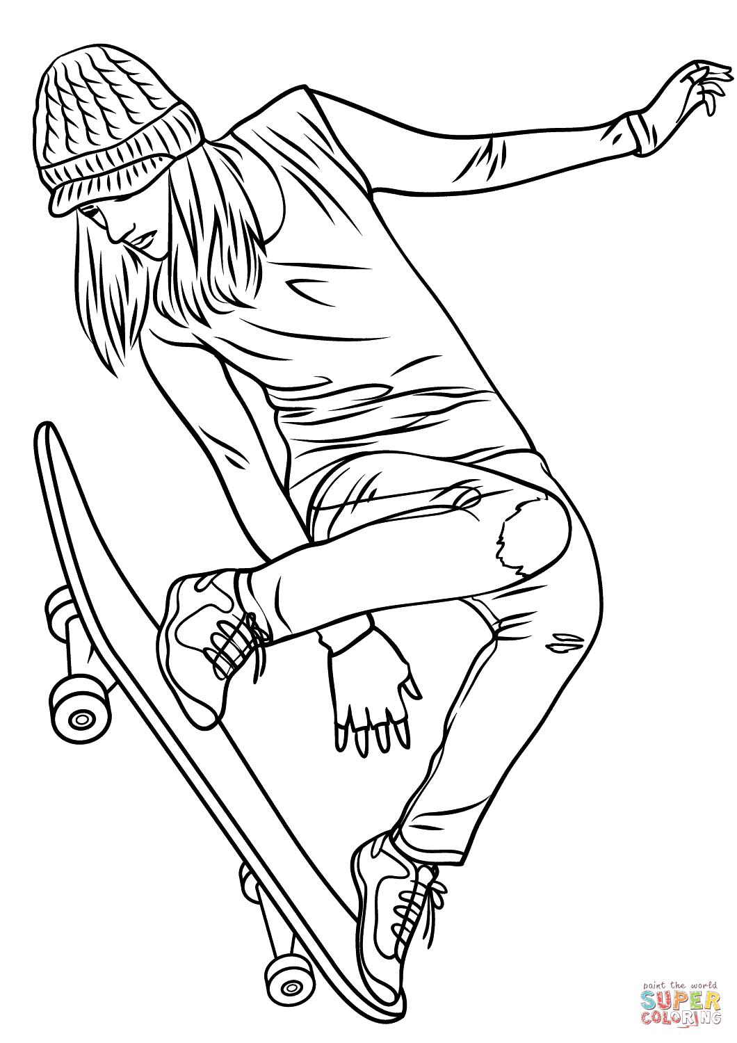 Girl Skateboarding coloring page.