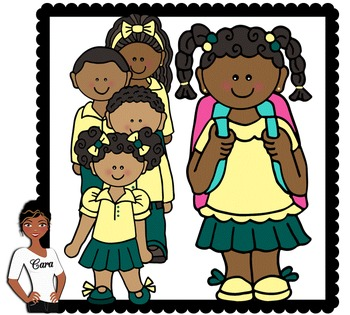 Clip Art~ African American Students Wearing Uniforms.