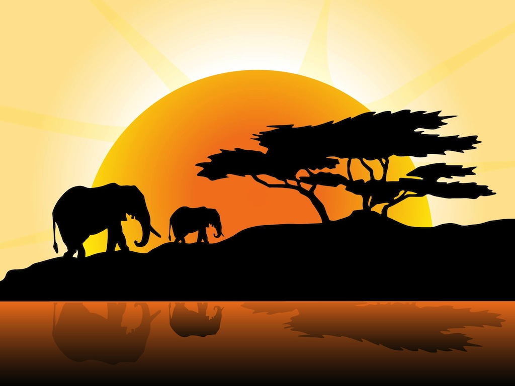 African sunset clipart.