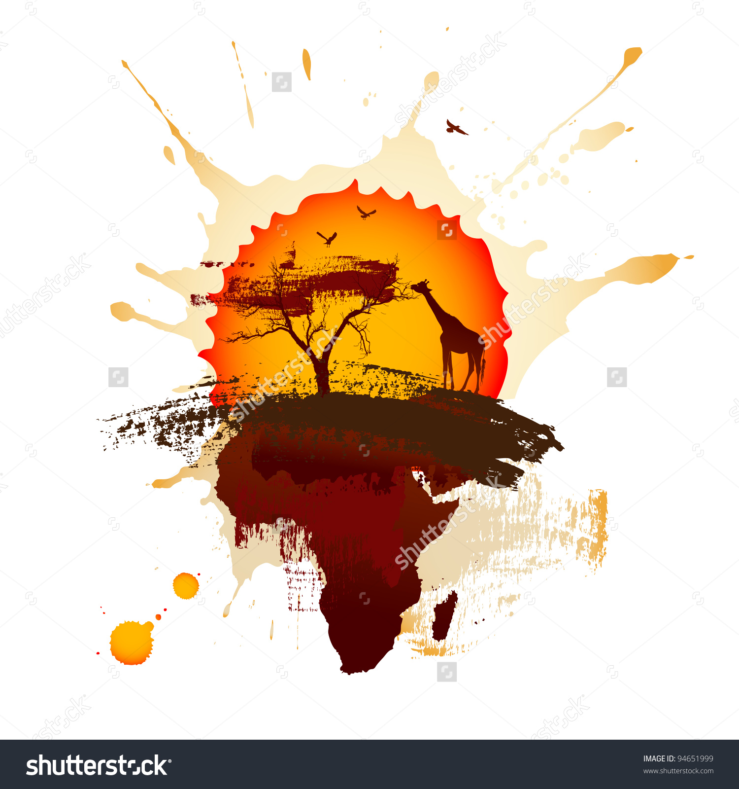 African Sunset Stock Vector 94651999.