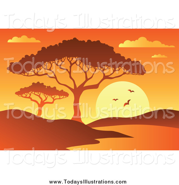 Clipart of a Orange African Sunset with a Tree and Watering Hole.