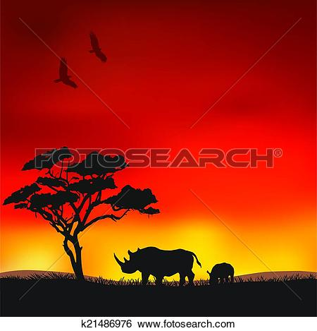 Clip Art of African sunset k21486976.