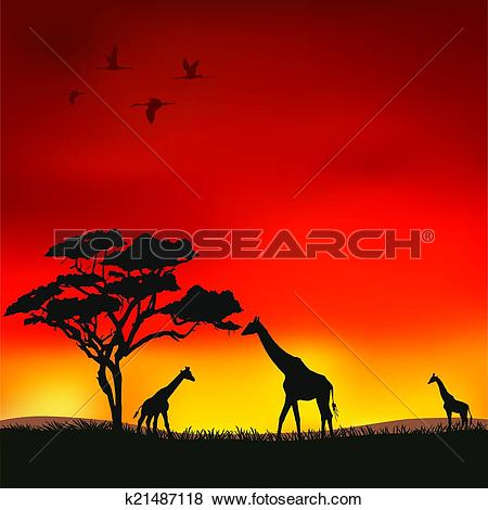 Clip Art of African sunset k21487118.