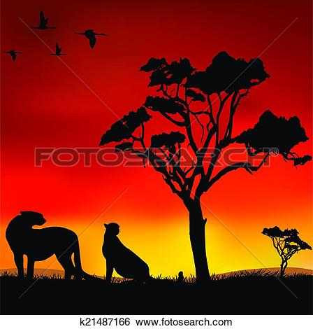 Clip Art of African sunset k21487166.