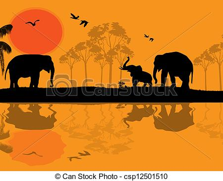 Vector Clip Art of African wildlife at sunset, with elephants near.