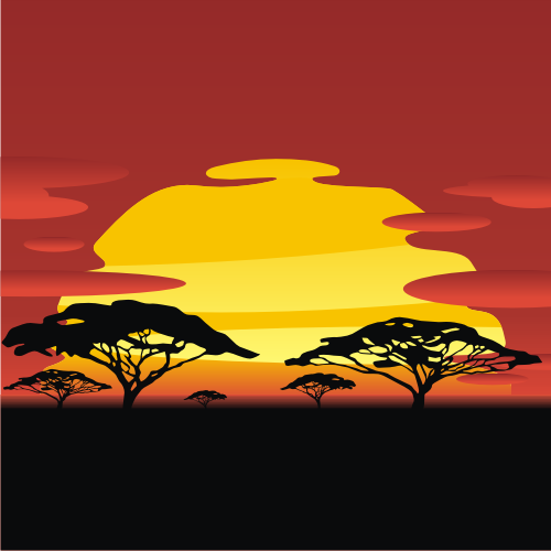 Africa Sunset Clipart.