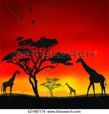 Clipart of African sunset k21487174.