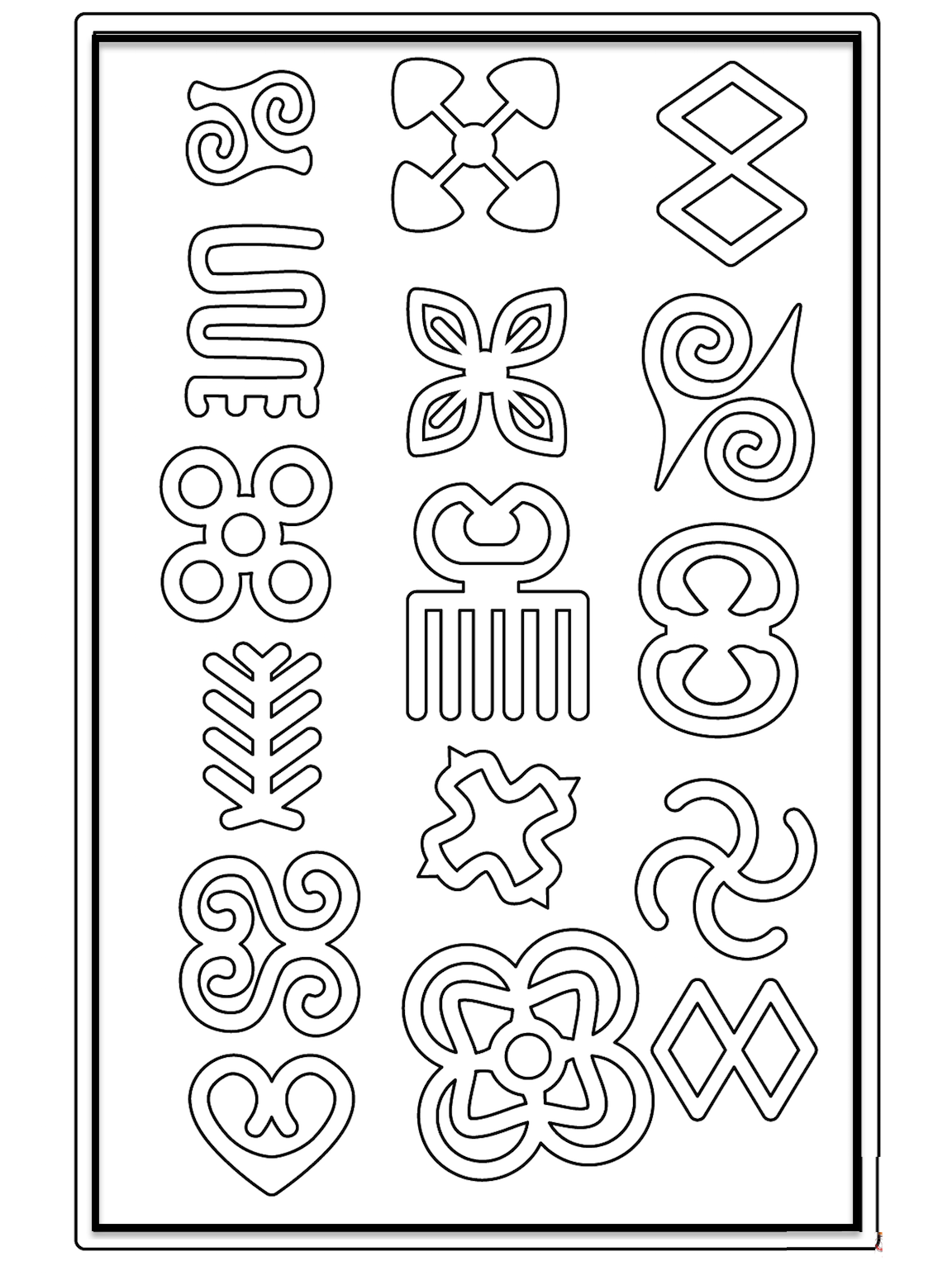 African Symbols, Coloring Pages And Other Free Printable.