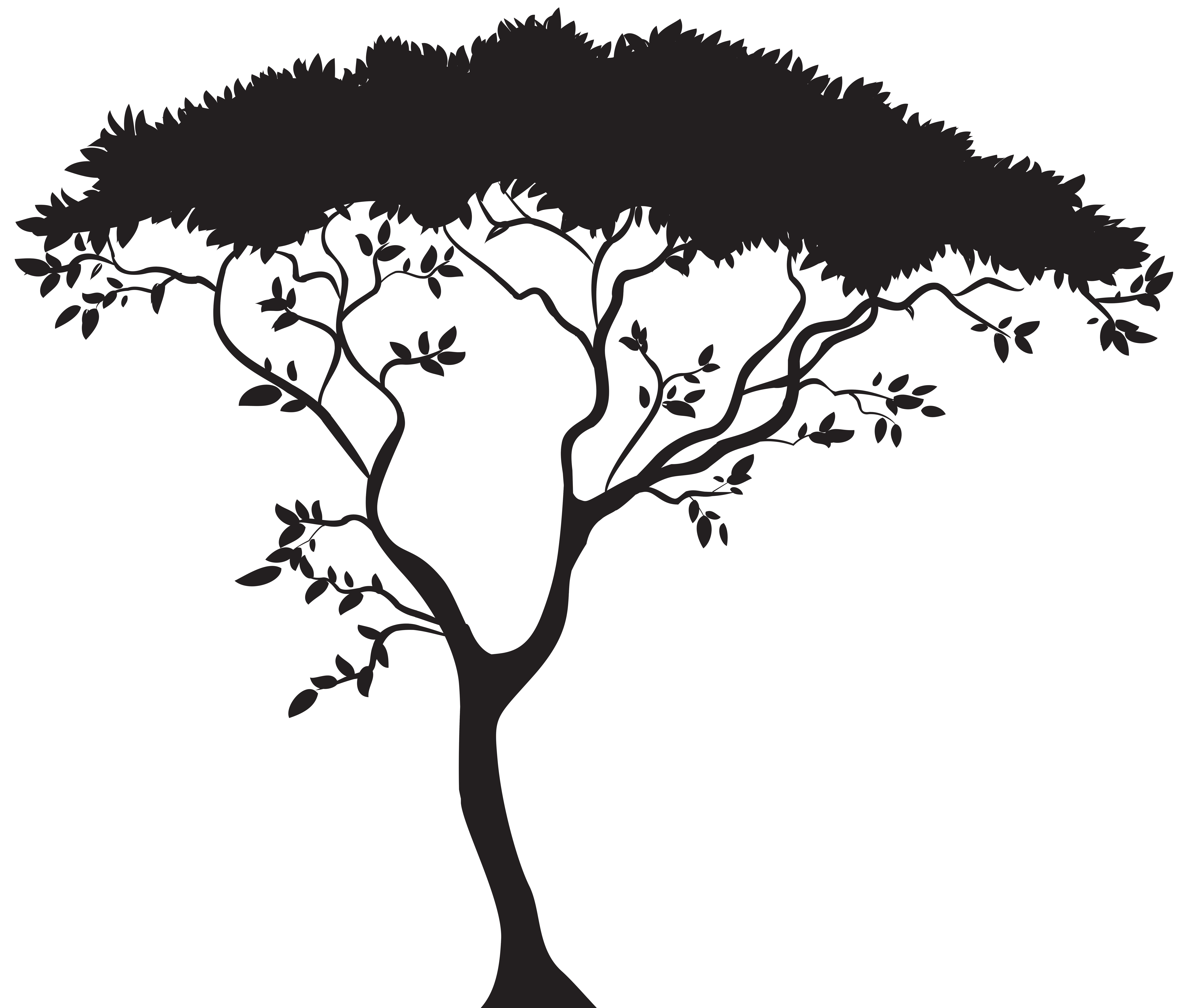 African Tree Silhouette PNG Clip Art.
