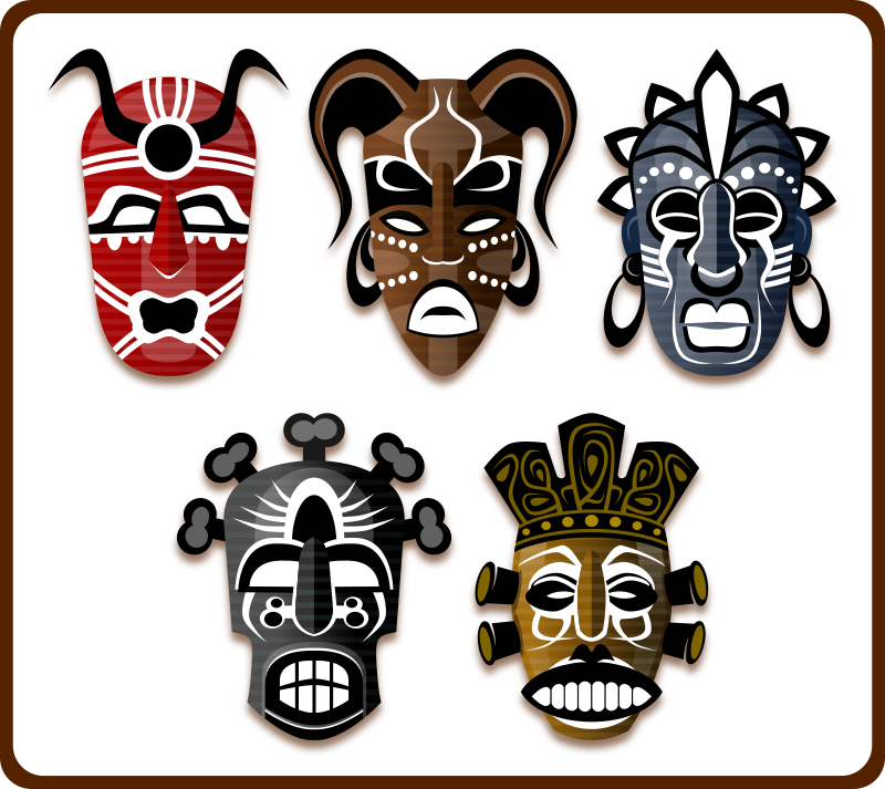 tribal mask clipart Traditional African masks Clip art.