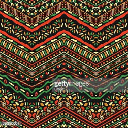 Vector african style pattern with tribal motifs. Clipart.