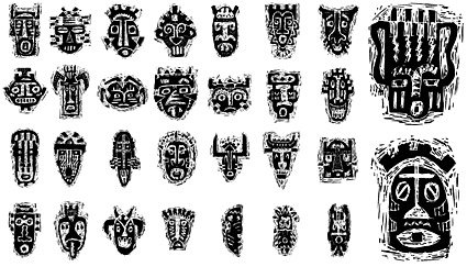 African tribal mask pattern Clipart Picture Free Download.