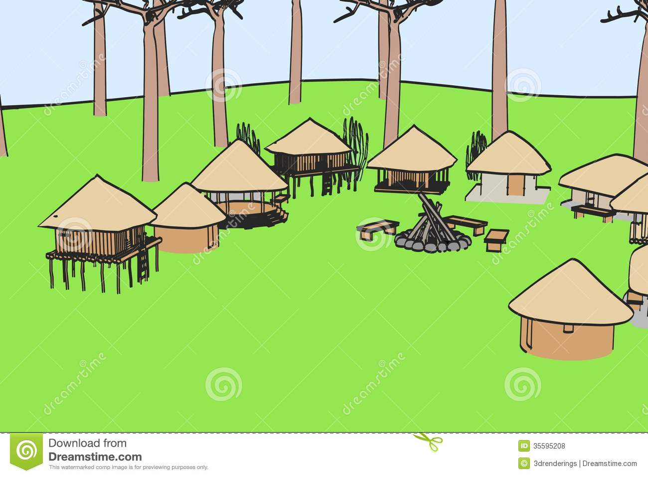Image Of African Village Royalty Free Stock Photos.