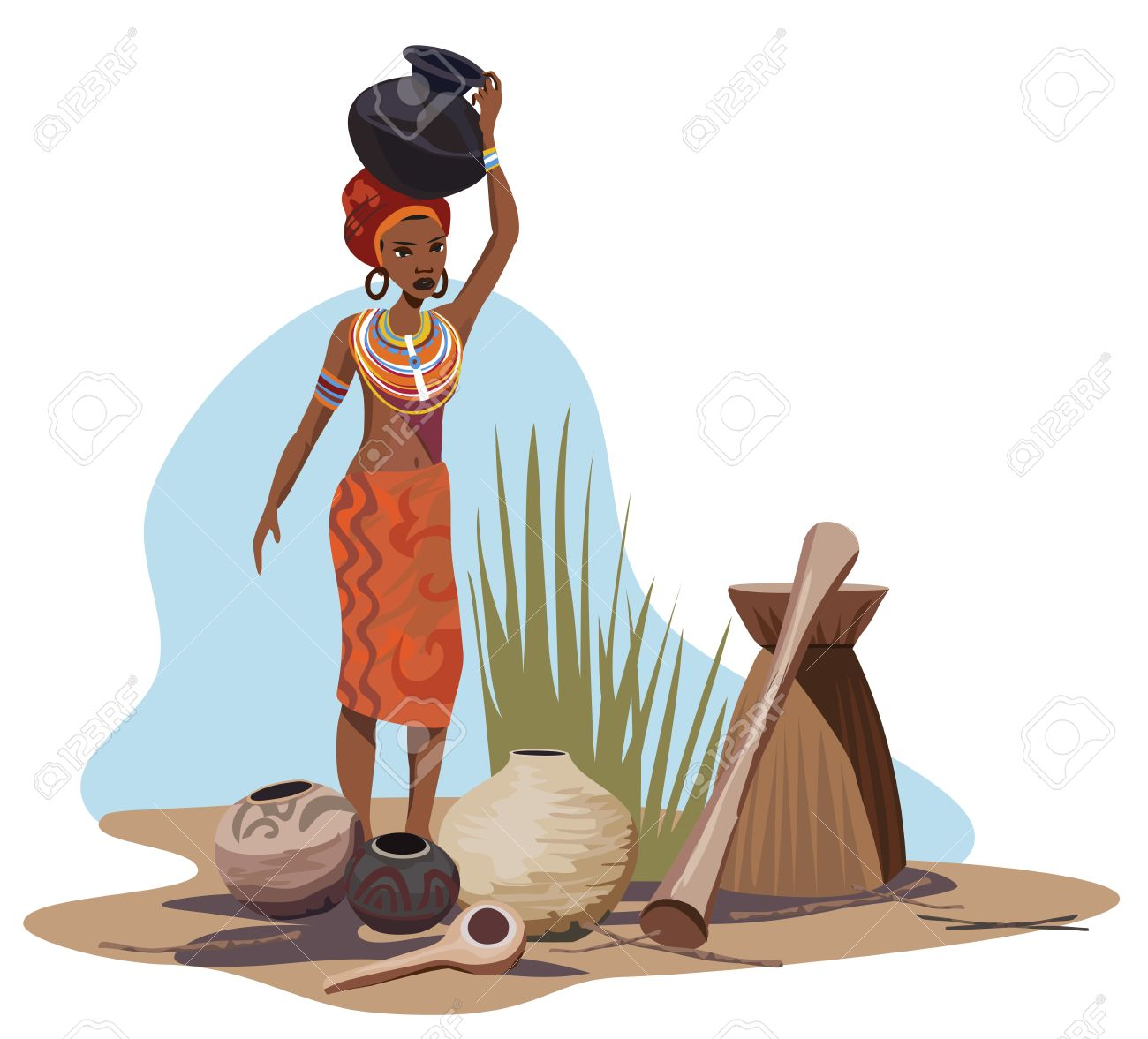 Illustration With An African Woman Carrying A Pot Royalty Free.
