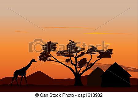 Clip Art of Sunset in Africa.