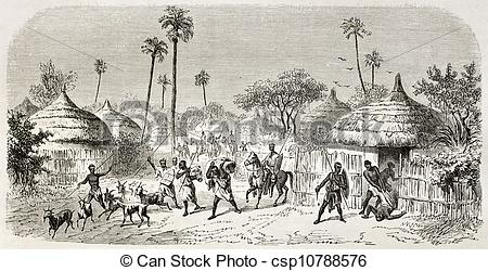 Clip Art of African village With baobabs and hut csp22037028.