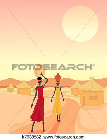 Clipart of african village k7638582.
