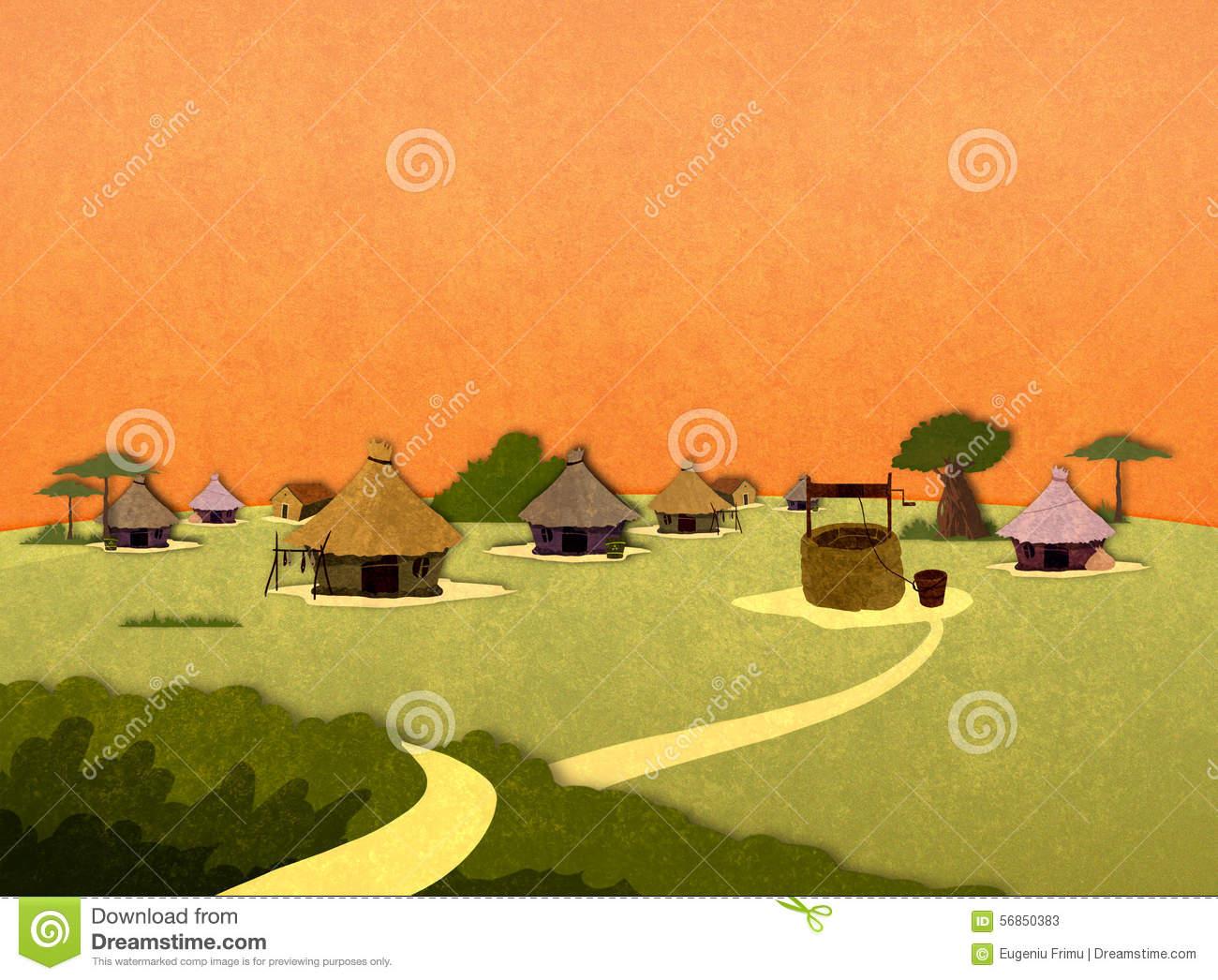African Village Houses. Stock Illustration.