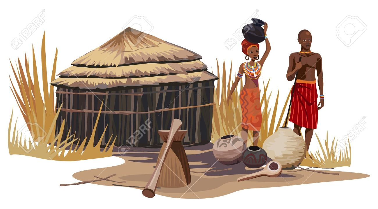African Man And Woman In An African Village Royalty Free Cliparts.