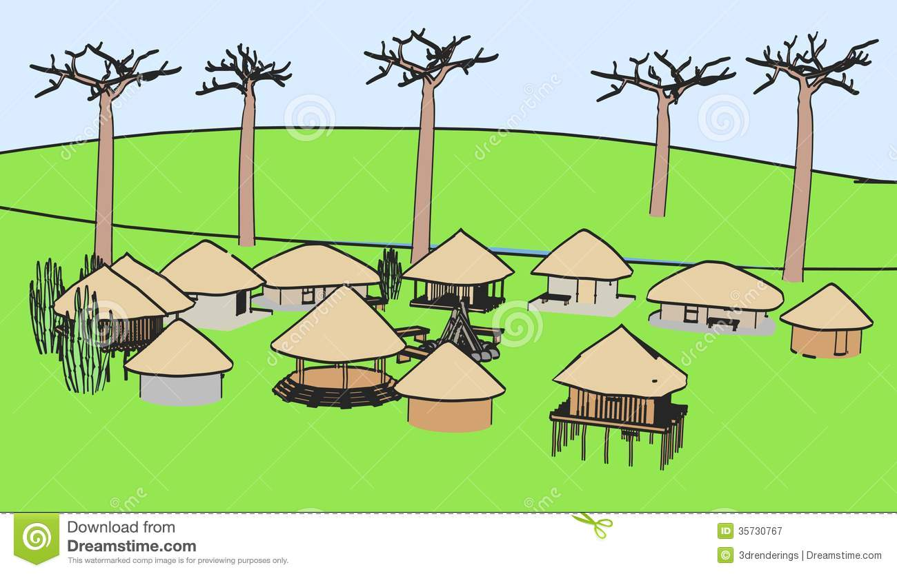 African village clipart.