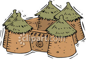 Village with Five Huts In a Compound Royalty Free Clipart Picture.