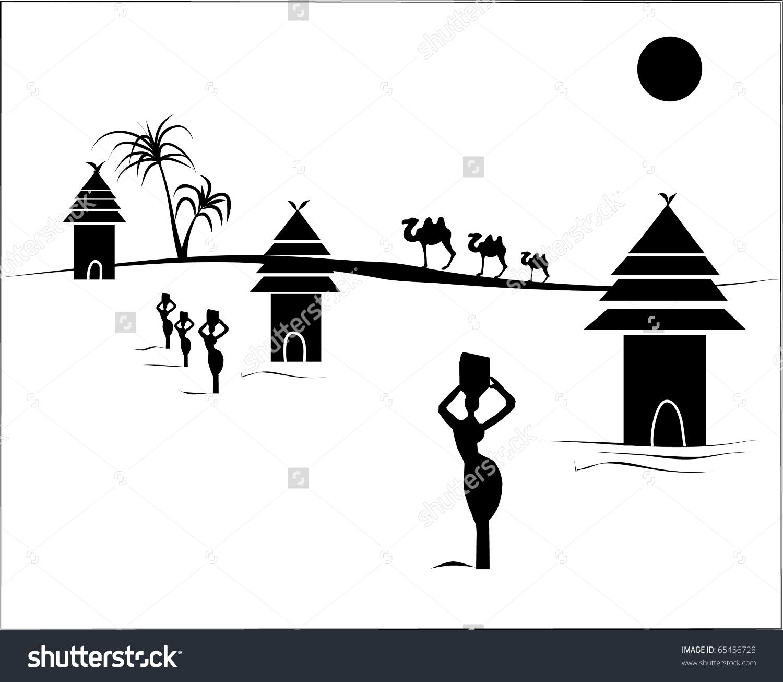 African Village Stock Vector 65456728.