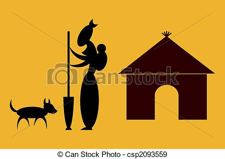 Stock Illustration of African Woman Working.